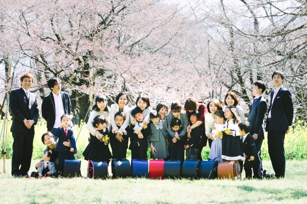 入学ランドセル菜の花集合写真