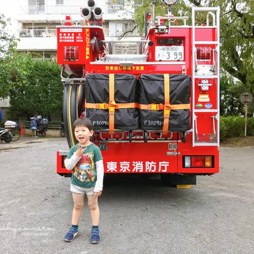 消防車と記念撮影1