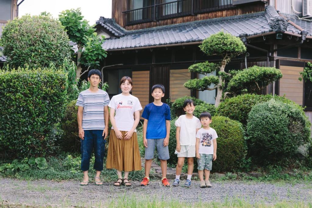移住1ヶ月記念の家族写真
